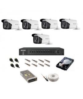 Sistem supraveghere IP Hikvision 5 camere exterior UltraHD