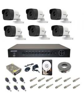 Sistem supraveghere Turbo HD Hikvision 6 camere exterior UltraHD